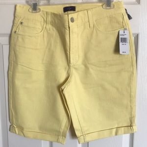 NEW! NYDJ Yellow Denim Cuffed Bermuda Shorts